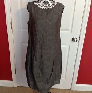 Chalet gray linen tank dress with matching slip